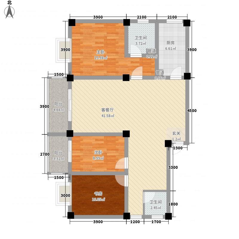 御景苑122.31㎡A座一单元户型3室2厅2卫1厨