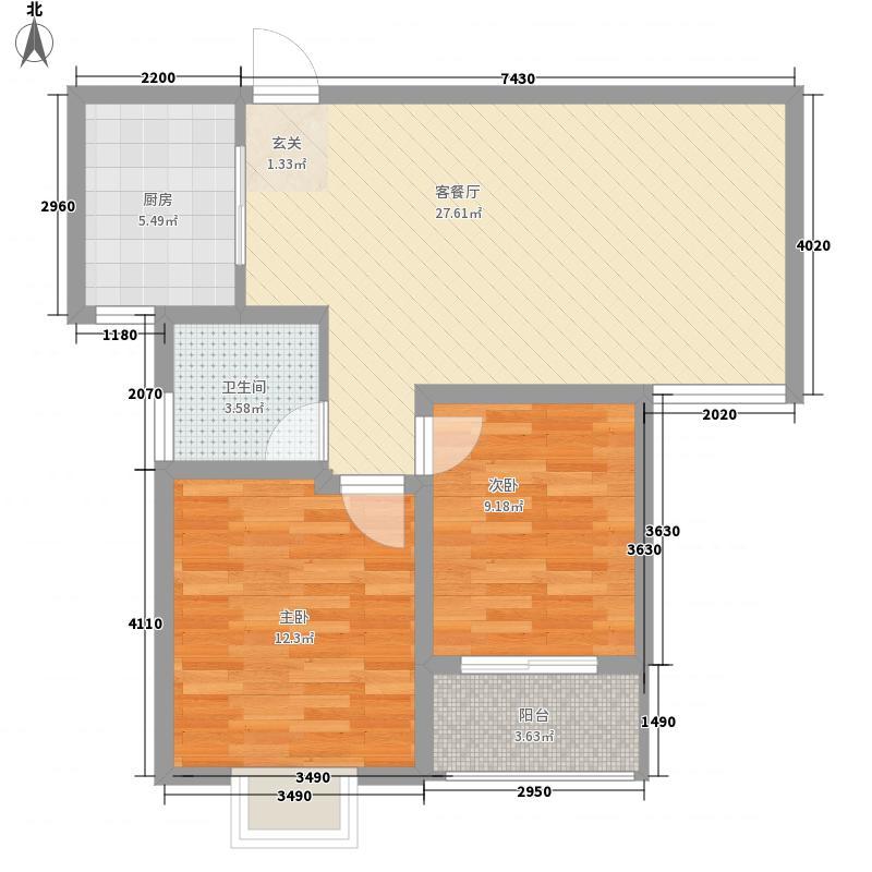天泽瀛桥水苑88.50㎡F户型2室2厅1卫1厨