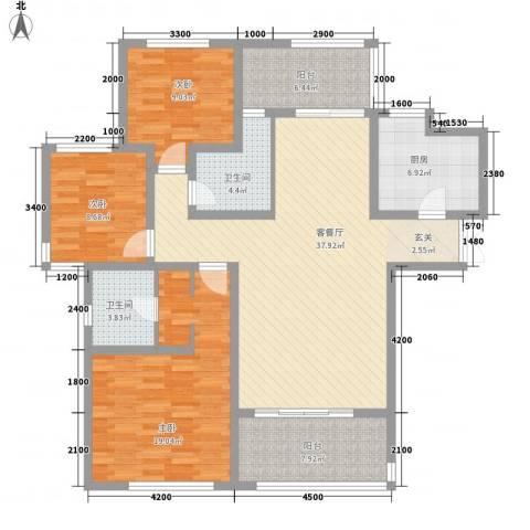 金地国际花园3室1厅2卫1厨136.00㎡户型图