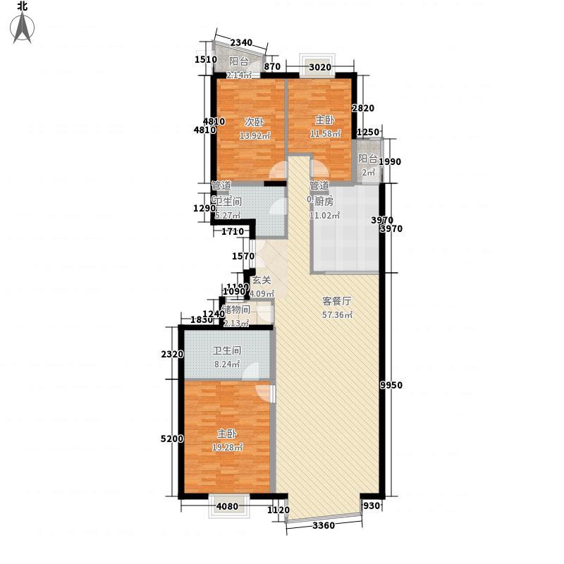 华源冠军城169.36㎡3号楼3单元01户型3室2厅2卫1厨