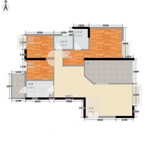 鑫月汇峰3室1厅2卫1厨126.00㎡户型图