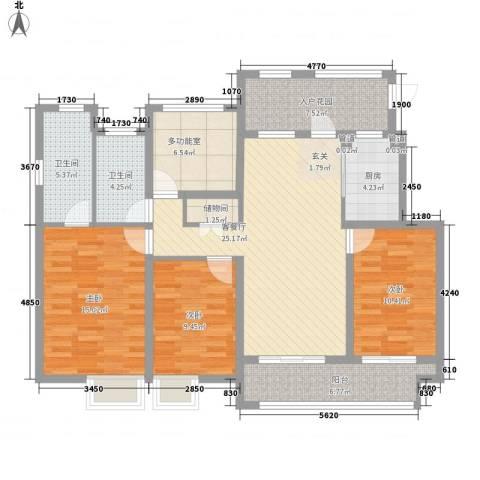 万科城3室1厅2卫1厨139.00㎡户型图