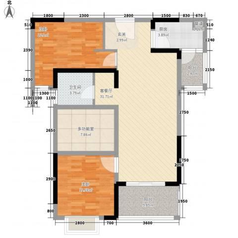 汉南天地2室1厅1卫1厨79.04㎡户型图