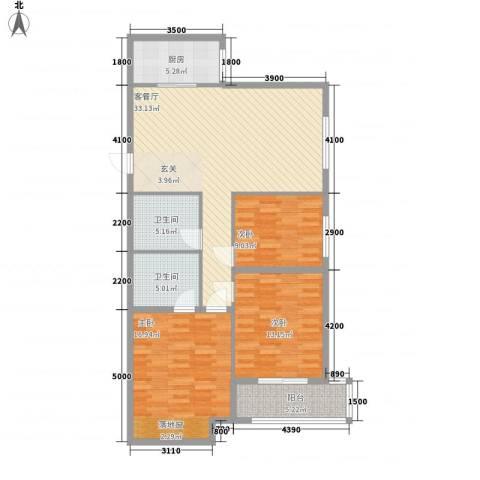府东美奥花苑3室1厅2卫1厨134.00㎡户型图