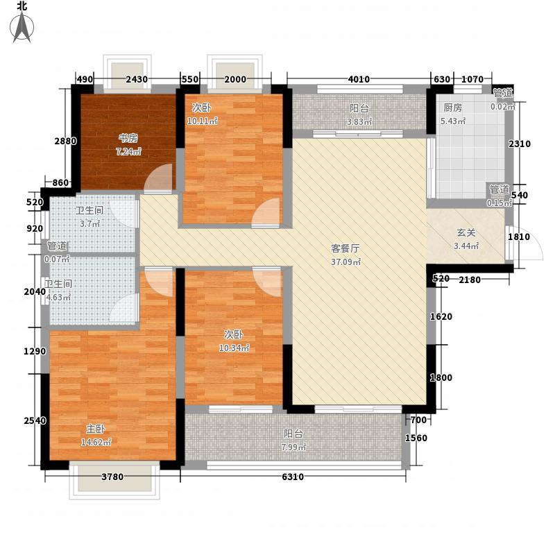 九龙仓月玺151.00㎡3#D户型4室2厅2卫1厨