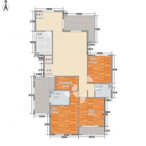 水晶森林3室1厅2卫1厨161.00㎡户型图