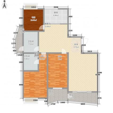 新富专家公寓3室1厅2卫1厨177.00㎡户型图