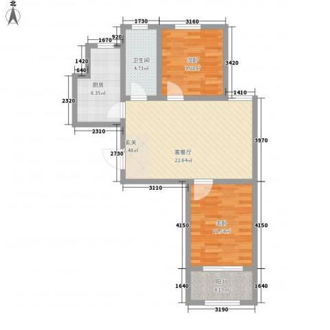 金玉豪庭2室1厅1卫1厨85.00㎡户型图