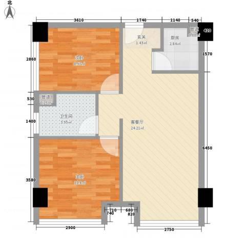 永达花园2室1厅1卫1厨72.00㎡户型图