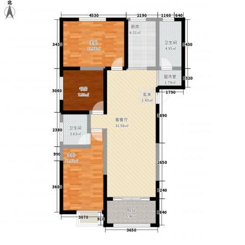 恒馨苑3室2厅2卫1厨128.00㎡户型图