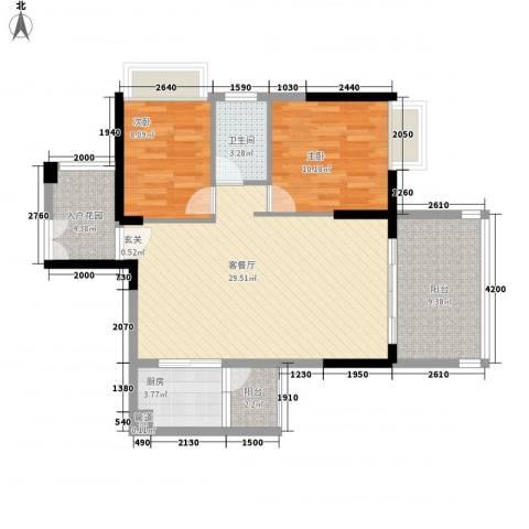 宝麒花园2室1厅1卫1厨101.00㎡户型图