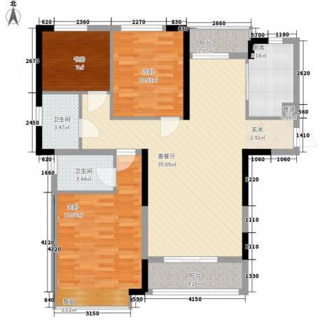 盛世华府3室1厅2卫1厨127.00㎡户型图