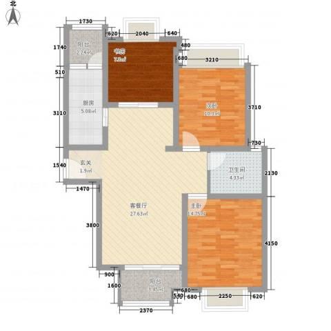 凯尔枫尚3室1厅1卫1厨107.00㎡户型图