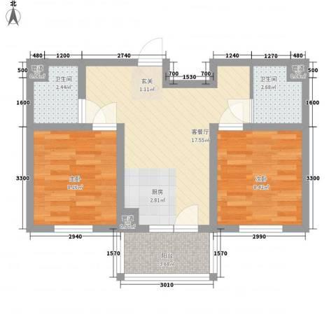 五岳溪谷2室1厅2卫0厨63.00㎡户型图