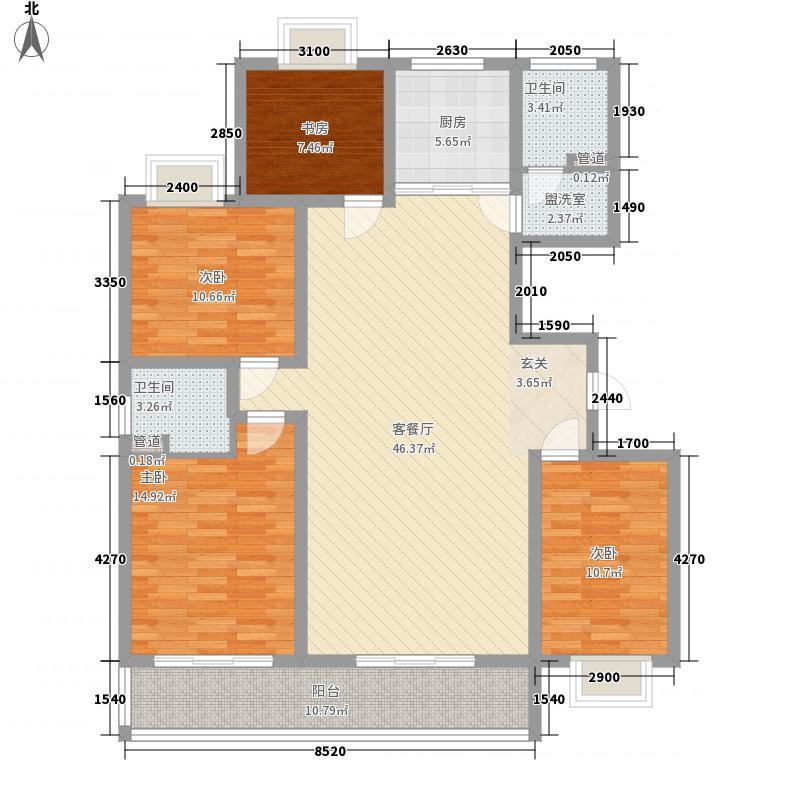 DBC名苑166.00㎡4号楼标准层F户型4室2厅2卫1厨