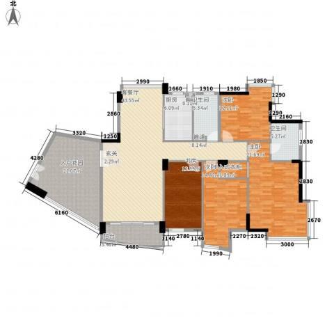 星河传说旗峰天下紫薇苑4室1厅2卫1厨166.11㎡户型图