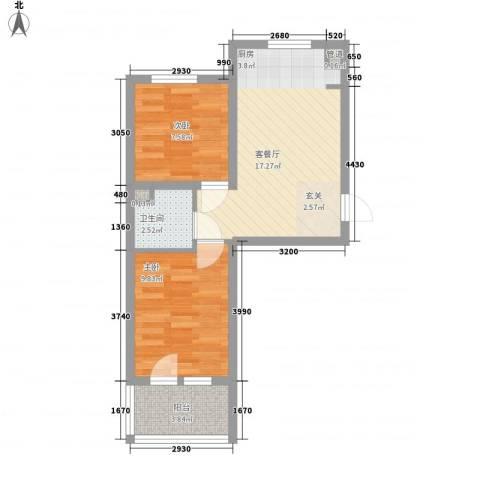 五岳溪谷2室1厅1卫0厨58.00㎡户型图