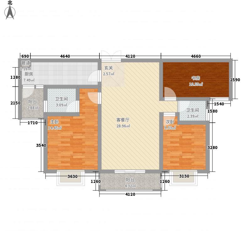 龙湖左岸121.11㎡1号路B户型3室2厅2卫1厨