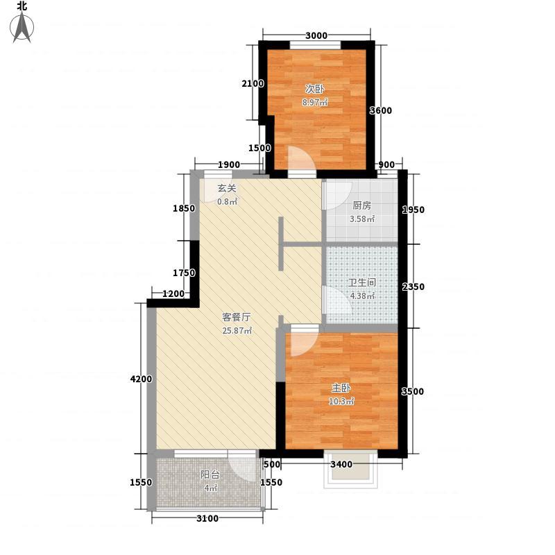 中民海港国际城85.00㎡2号楼B户型2室2厅1卫1厨