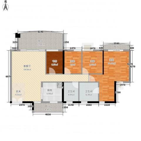 美林湖畔花园4室1厅2卫1厨162.00㎡户型图