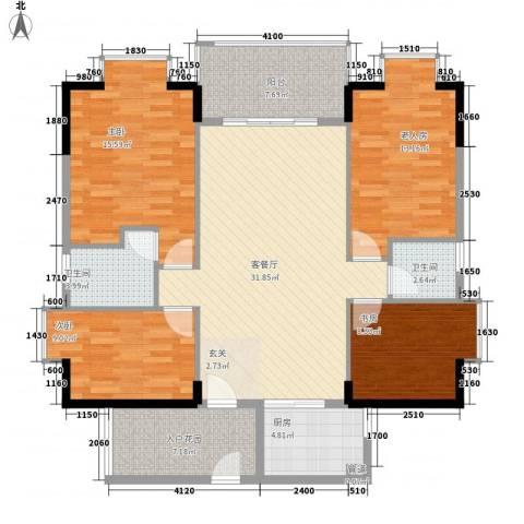 盛和新都会.4室1厅2卫1厨141.00㎡户型图