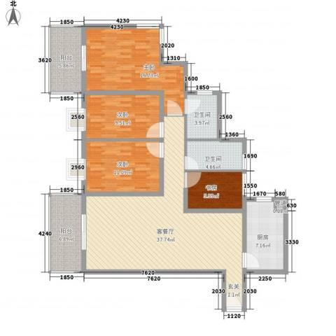 鹭江海景花园二期4室1厅2卫1厨156.00㎡户型图