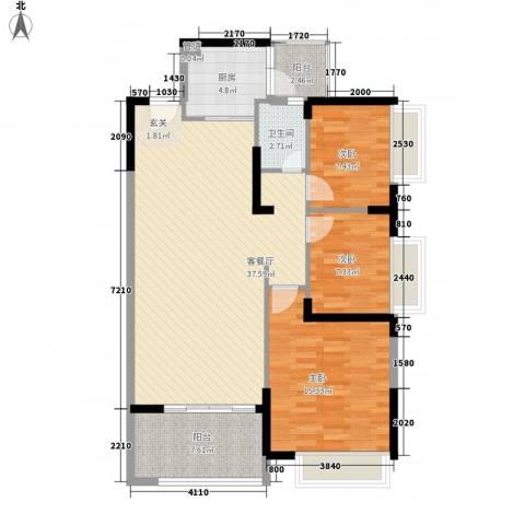 宝麒花园3室1厅1卫1厨120.00㎡户型图