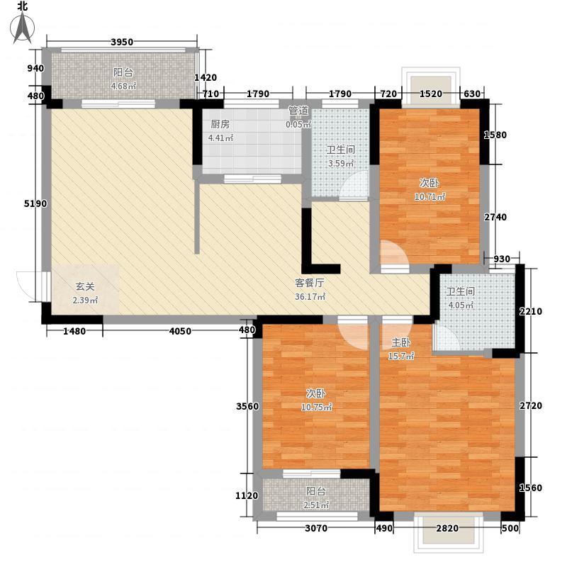 龙湖左岸134.00㎡F户型3室2厅2卫1厨