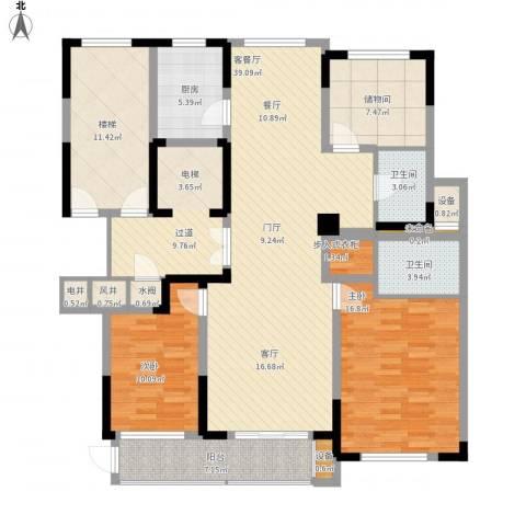塞纳蓝湾2室1厅2卫1厨174.00㎡户型图