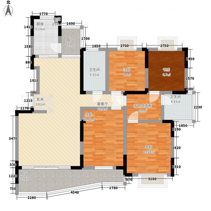 红山半岛168.00㎡F户型4室2厅2卫1厨