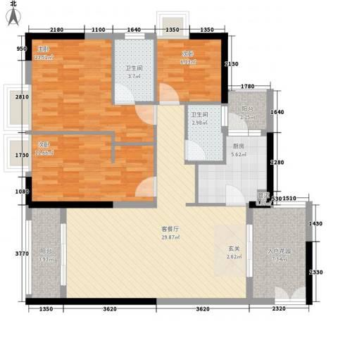鑫月汇峰3室1厅2卫1厨87.07㎡户型图
