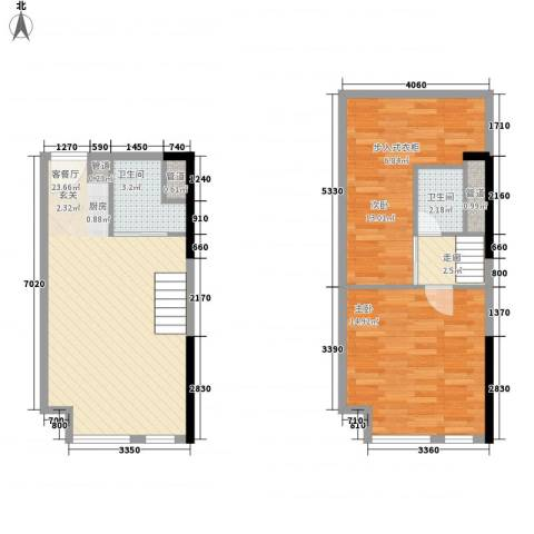七彩幸福里2室1厅2卫0厨61.29㎡户型图