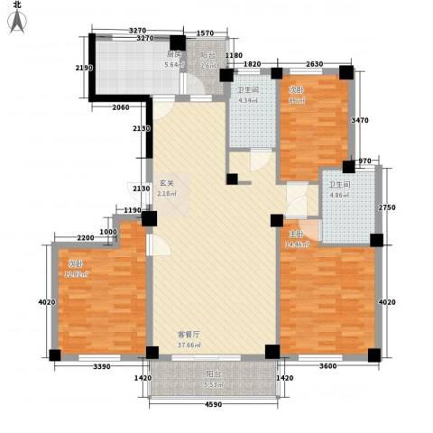 盛世华府3室1厅2卫1厨137.00㎡户型图