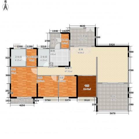 星河传说旗峰天下紫薇苑4室1厅2卫1厨233.00㎡户型图