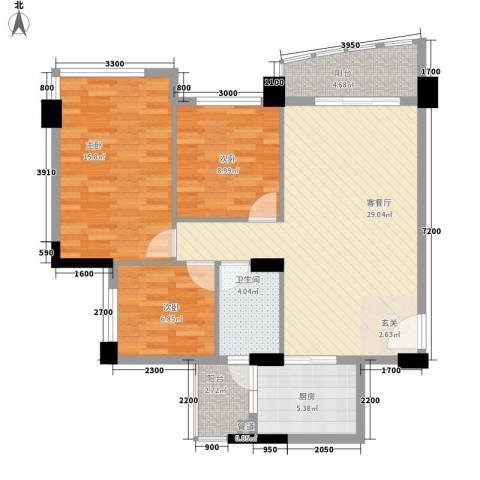 金宝山庄3室1厅1卫1厨77.52㎡户型图