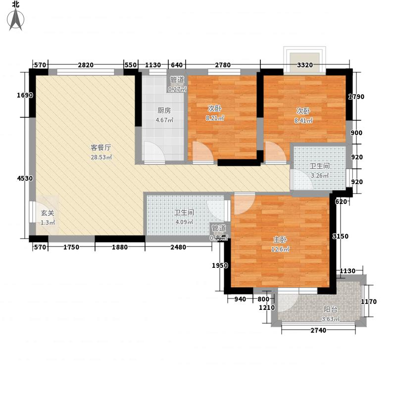 万景橘苑3室1厅2卫1厨73.83㎡户型图