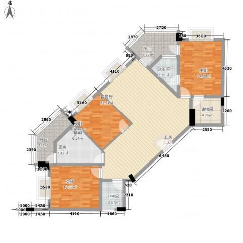 嘉豪雅苑3室1厅2卫1厨143.00㎡户型图