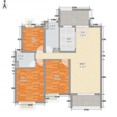 金宝山庄3室1厅2卫1厨251.00㎡户型图