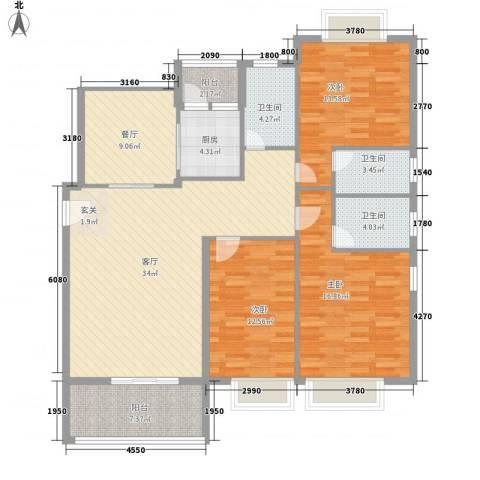 凯茵豪庭3室2厅3卫1厨156.00㎡户型图