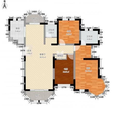 衡山城3室1厅2卫1厨114.00㎡户型图