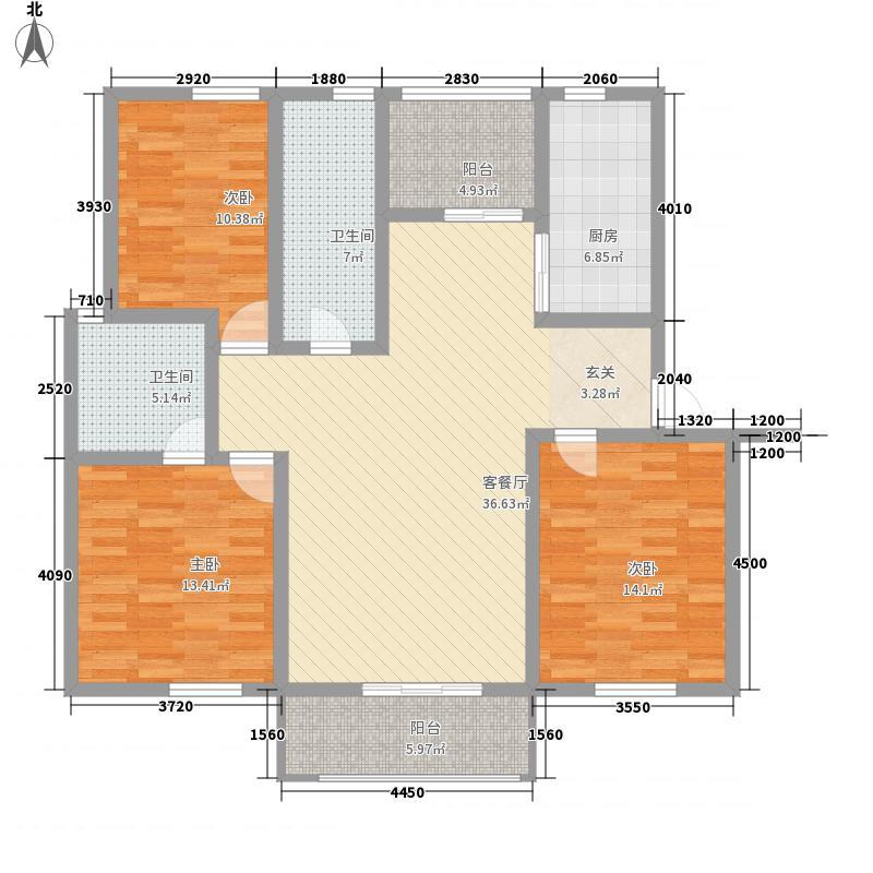 中坤苑133.00㎡I户型3室2厅2卫1厨