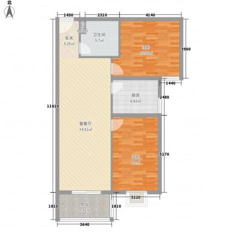 润泽苑2室1厅1卫1厨115.00㎡户型图