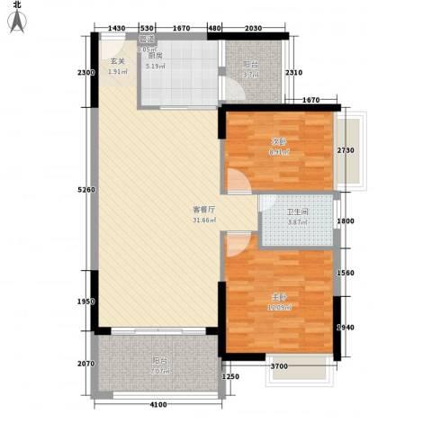 宝麒花园2室1厅1卫1厨102.00㎡户型图