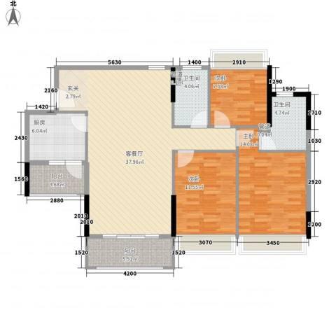 中澳美丽花园3室1厅2卫1厨132.00㎡户型图