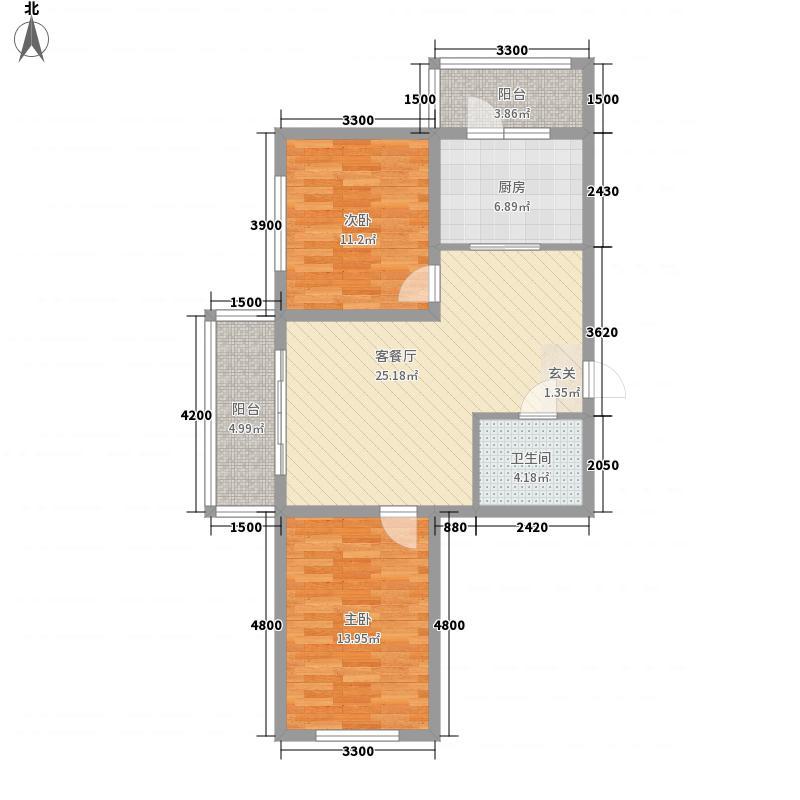 盛泽国际广场67.88㎡e户型2室1厅1卫1厨