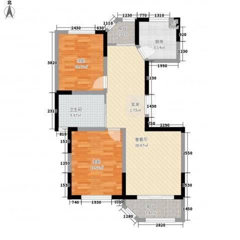 衡山城2室1厅1卫1厨77.60㎡户型图