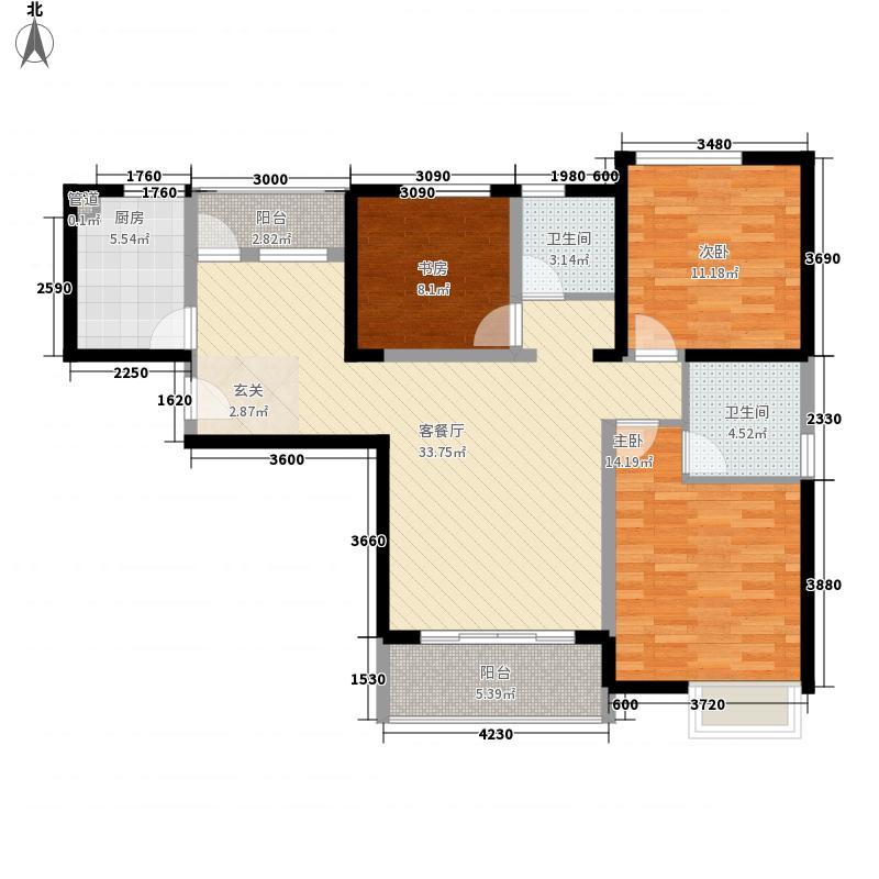 美景鸿城128.00㎡三期12#A-3户型3室2厅2卫1厨