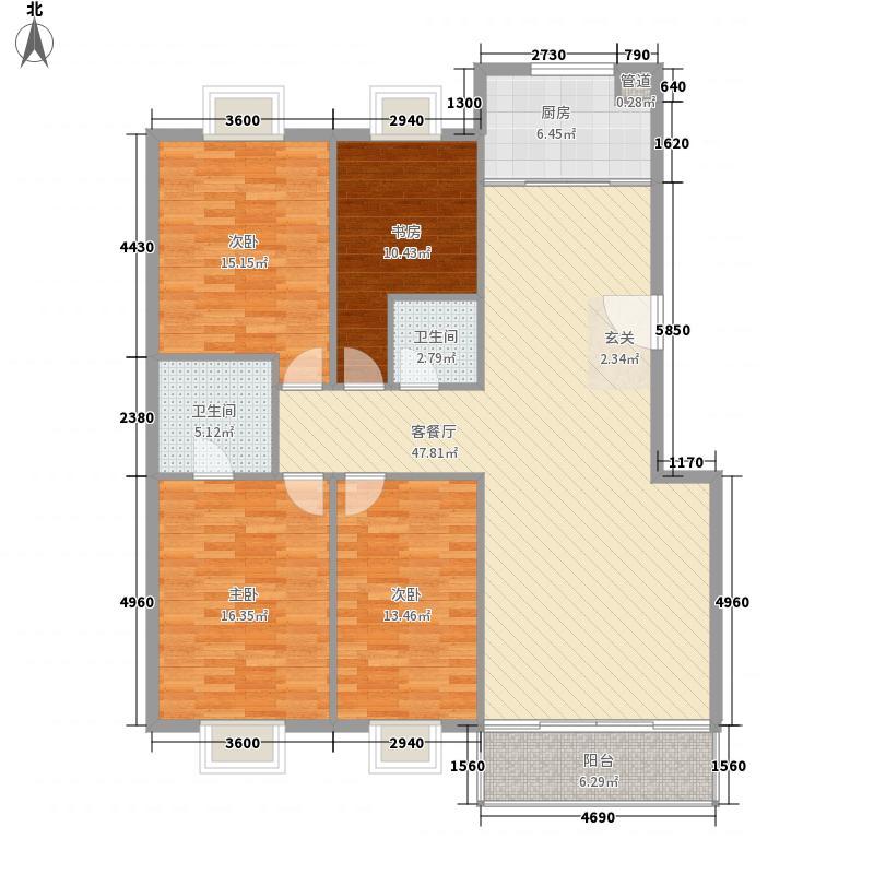 天庆嘉园B区星河缘17.00㎡E-1户型4室2厅2卫1厨