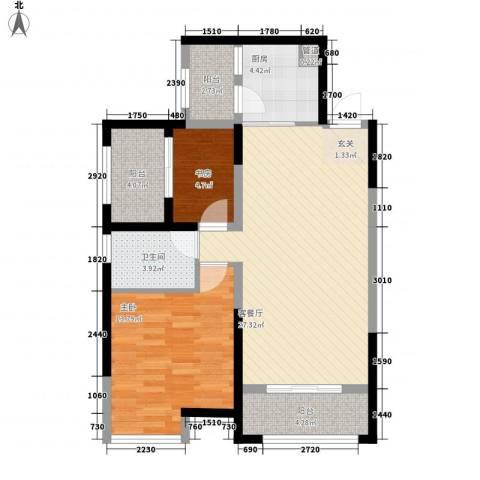 中铁万和城2室1厅1卫1厨90.00㎡户型图