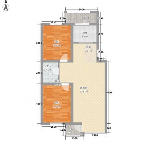 世家沈北新城2室1厅1卫1厨67.32㎡户型图